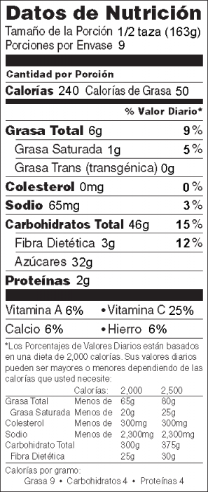 Foto de  información nutricional de Postre Crujiente de Ruibarbo y Arándanos