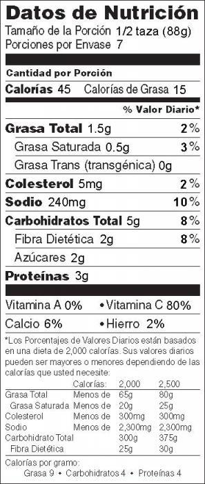 Foto de información nutricional de Coliflor Asada