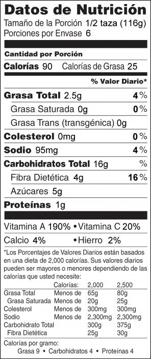 Foto de información nutricional de Chirivía y Zanahoria Horneadas
