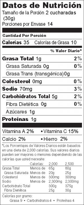 Foto de información nutricional de Crema de Frijoles Pintos Para Untar