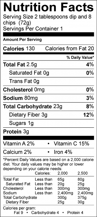 Photo of Nutrition Facts of Pinto Bean Dip with Food Hero Baked Tortilla Chips