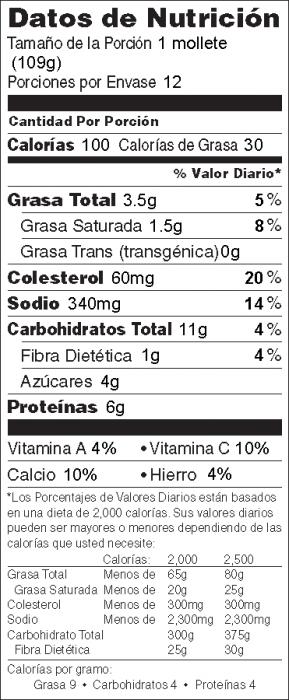 Foto de  información nutricional de Panecillos de Quiche y Verduras