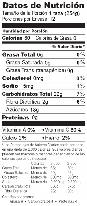 Foto de  información nutricional de Sidra Caliente de Naranja y Manzana