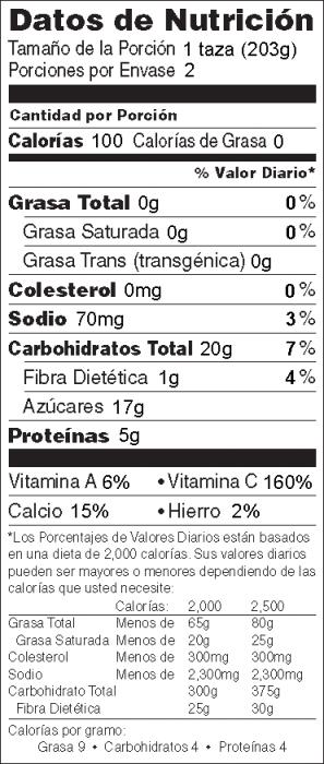 Foto de  información nutricional de Refresco de Durazno