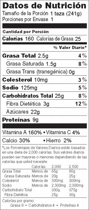 Foto de  información nutricional de Licuado de Calabaza en un Vaso
