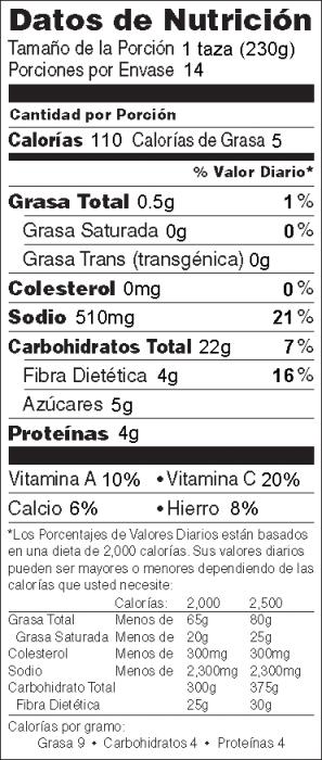 """Foto de  información nutricional de Guisado del Sur del País de """"Okra"""" y Frijoles"""