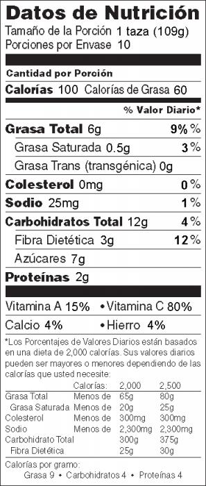 Foto de  información nutricional de Ensalada de Primavera
