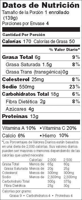 Foto de  información nutricional de Enrollados Esplendorosos