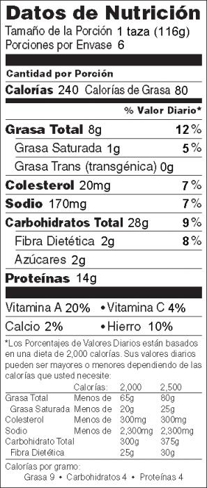 Foto de  información nutricional de Ensalada de Atún con Pasta