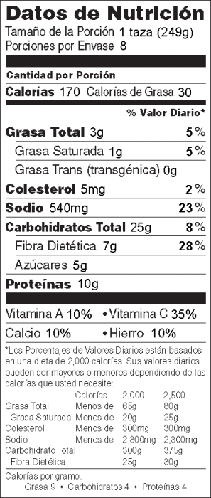 Foto de información nutricional de Chili Vegetariano