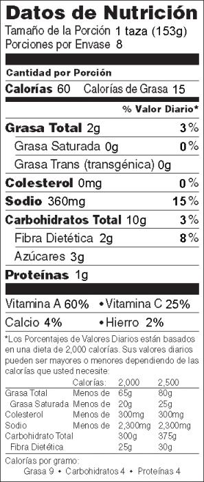 Foto de  información nutricional de Guisado de Verduras