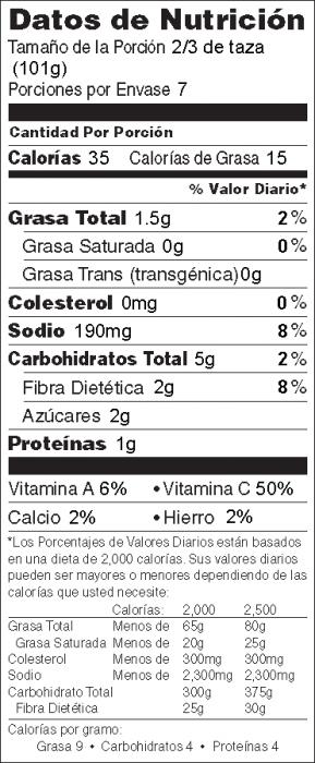 Foto de  información nutricional de Sofrito de Repollo