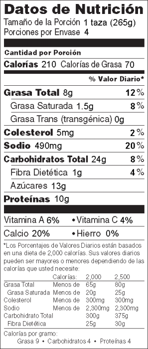 Foto de  información nutricional de Sopa tipo