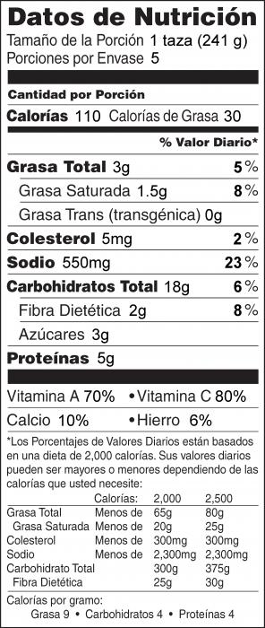 Foto de  información nutricional de Sopa de Col Rizada y Frijoles Blancos