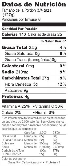 Foto de  información nutricional de Ensalada de Pasta y Espinacas