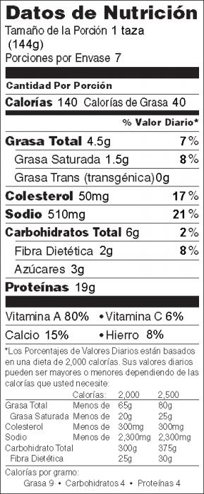 Foto de  información nutricional de Espinacas & Pollo Italiano
