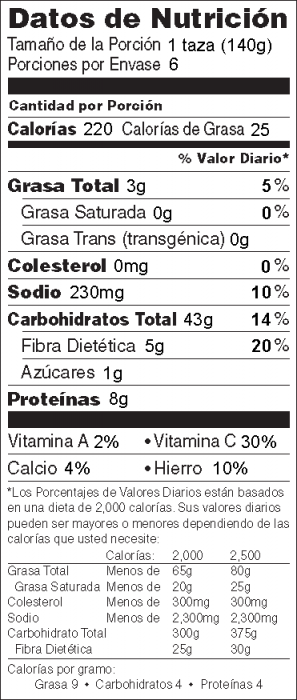 Foto de  información nutricional de Ensalada Veraniega de Pasta con Vegetales