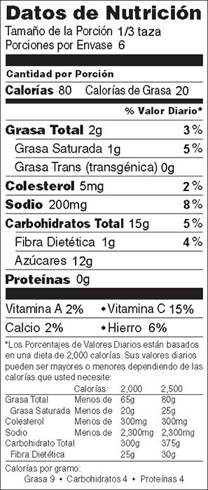 Foto de información nutricional de Betabeles Tropicales