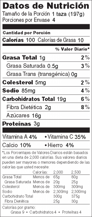 Foto de  información nutricional de Licuado de Bayas y Betabel