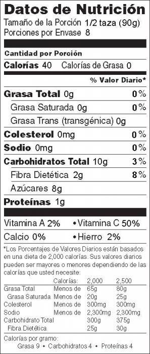 Foto de información nutricional de Ensalada de Frutas y Sandía