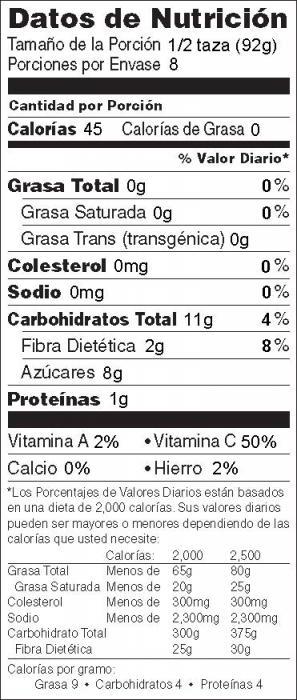 Foto de  información nutricional de Ensalada de Frutas y Sandía con Plátano