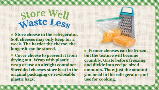Store Well Waste Less Cheese