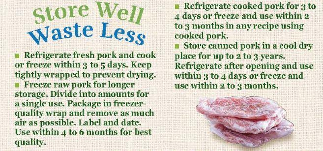 Store Well Waste Less Pork
