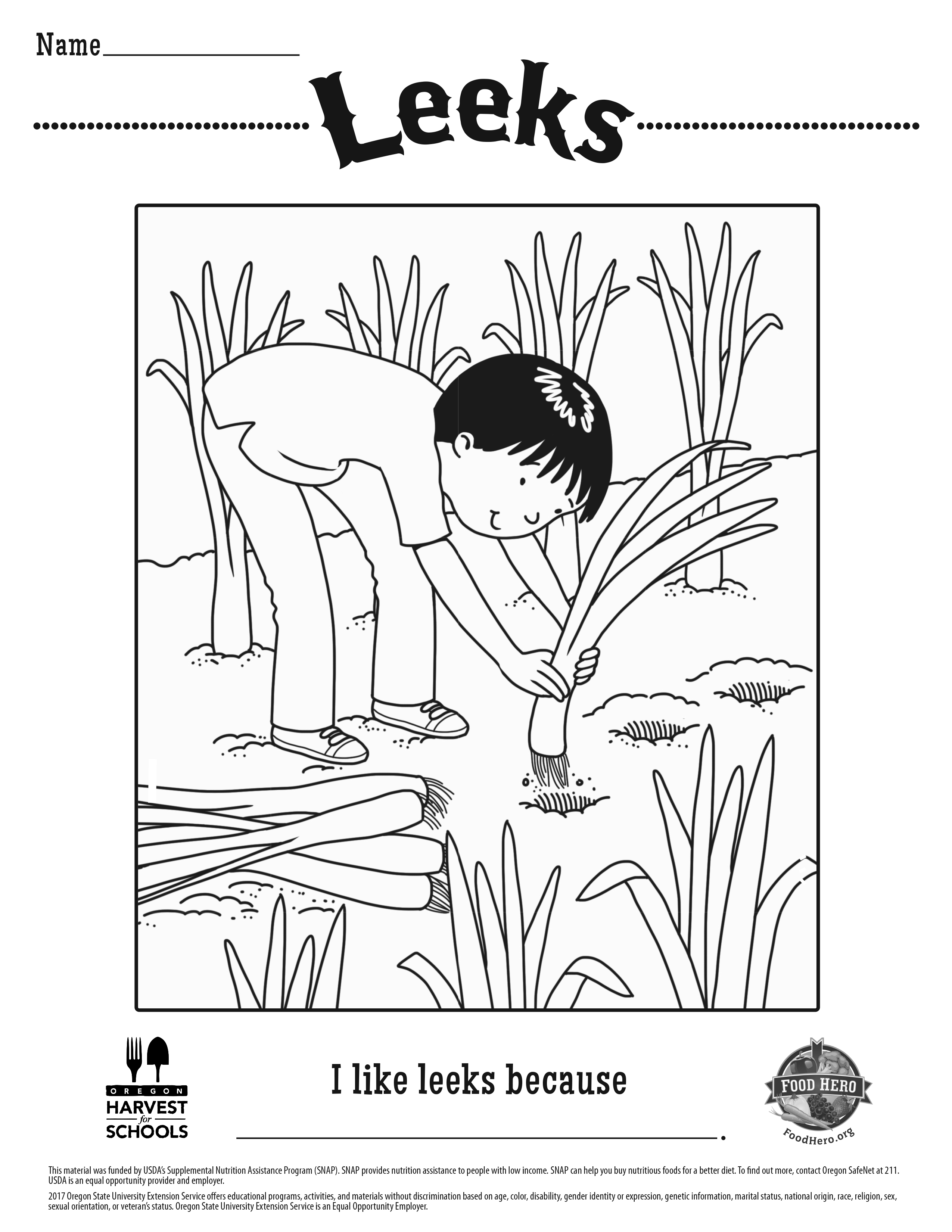 Leeks Coloring Sheet