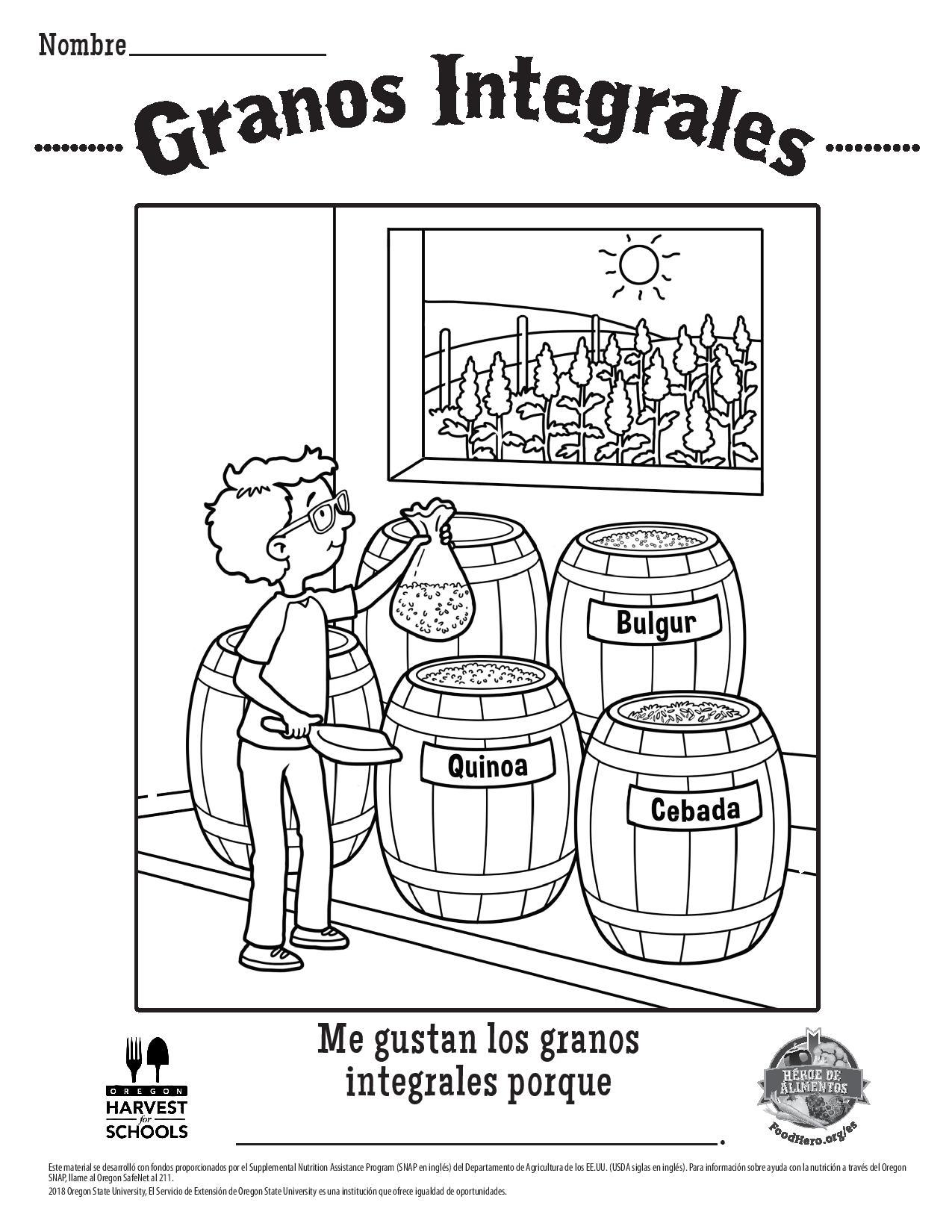 Whole Grain Coloring Sheet Spanish