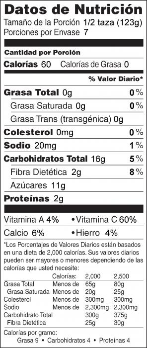 Foto de  información nutricional de Yogur de Fresa Congelado