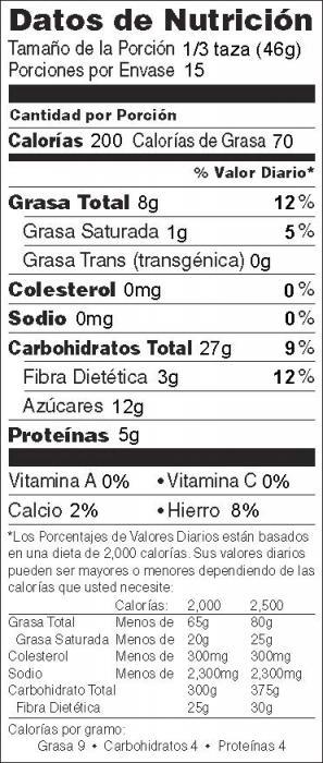 Foto de  información nutricional de Granola a la Sartén sin Leche