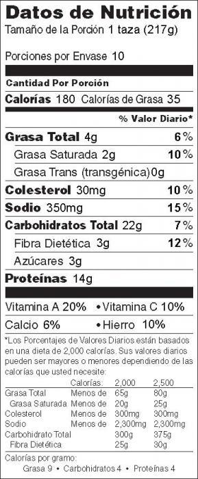 Foto de información nutricional de Pastel de Carne con Papas y Verduras