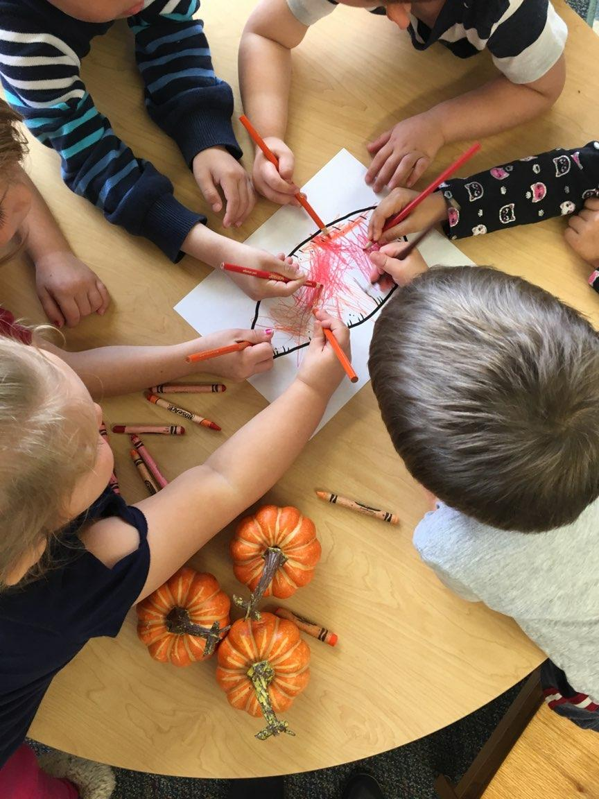 Children coloring in a Sweet Potato Illustration