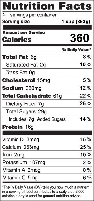 Photo of Nutrition Facts of Apple Spice Oatmeal