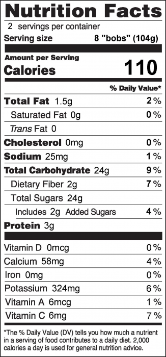 Photo of Nutrition Facts for Banana Bobs