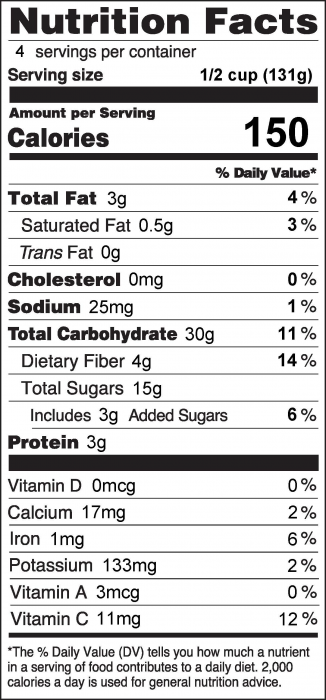 Photo of Nutrition Facts for Blueberry Bling