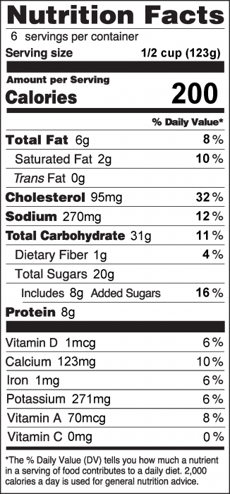 Nutrition Facts Label for Bread Pudding in the Microwave