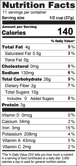 Photo of Nutrition Facts of Do-It-Yourself Trail Mix