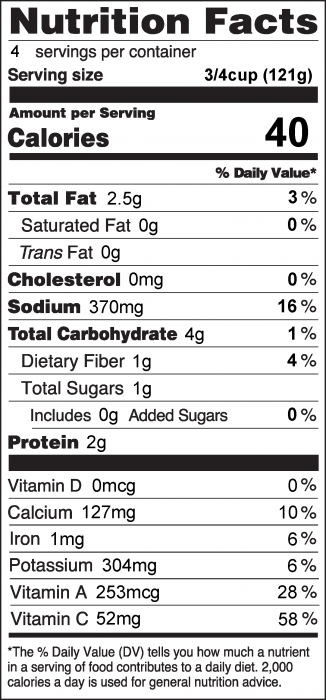 Photo of Nutrition Facts for Garlic Bok Choy
