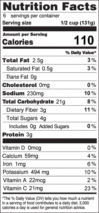 Photo of Nutrition Facts for Mashed Parsnips and Potatoes