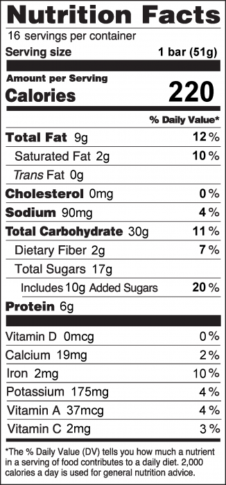 Photo of Nutrition facts of Peanut Butter Cereal Bars with Rice Cereal and Oats