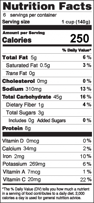 Photo of Nutrition Facts of Summer Vegetable and Pasta Salad
