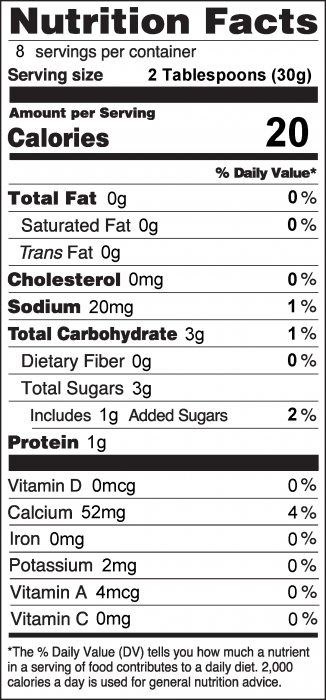Photo of Nutrition Facts for Yogurt Fruit Dip