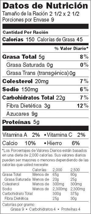Foto de information nutricional Avena al Horno con Manzana Condimentada (no nueces)