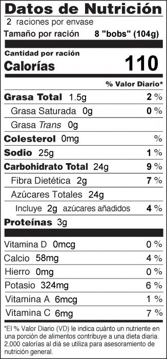 Foto de  información nutricional de Medallones de Plátano