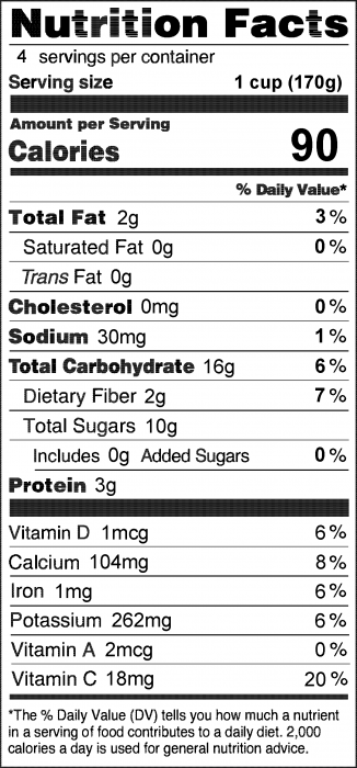 Photo of Nutrition Facts for Blueberry Tofu Smoothie
