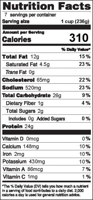 Photo of Nutrition Facts for Chicken, Brocolli & Cheese Skillet