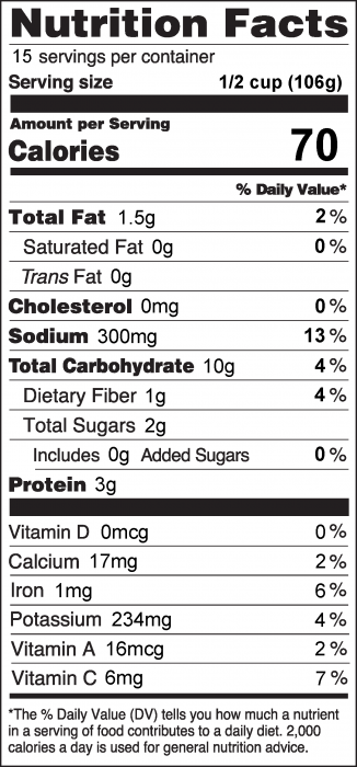 Photo of Nutrition Facts for Cowboy Salad without Avocado