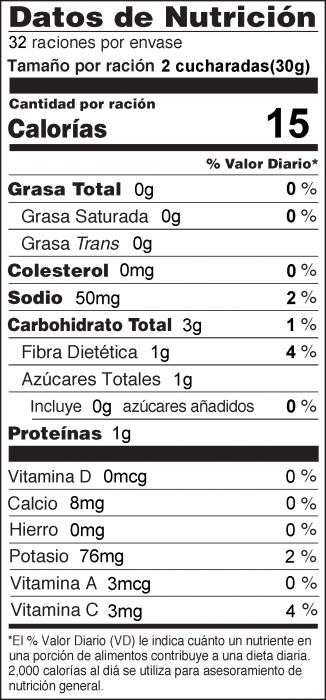 Foto de información nutricional de Salsa de Mercado de Agricultores