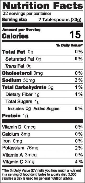 Photo of Nutrition facts of Farmers Market Salsa